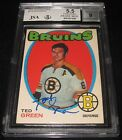 1971-72 O-Pee-Chee Ted Green Signed Card BGS 5.5 JSA 9 Auto Bruins TOUGH SIGNER!