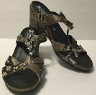 Mephisto Size 9 Dark Brown Leather Snakeskin Look Strappy Sandals Prom Formal