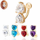 Reverse Crystal Bar Belly Ring Gold Body Piercing Button Navel Two Heart Unisex