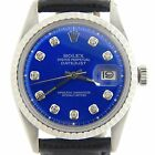 Rolex Datejust Mens Stainless Steel Black w/ Submariner Blue Diamond Dial Watch