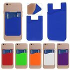 Silicone Wallet Credit ID Card Adhesive Holder Case For iPhone Samsung Android J