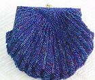 Beaded Dark Blue Vintage Shell Design Snap Closure Purse Evening Bag