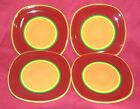 Dansk Caribe Aruba Salad Plate Hand Painted Orange Red Green & Yellow Lot 4