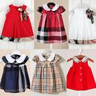 Girl Baby Toddler Infant Plaid Checks Princess Dress Party Mini Outfit Festival