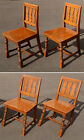 Set 4 Antique Vintage Arts and Crafts Wood Wooden Dining Room Side Accent Chairs