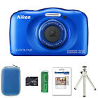 Nikon Coolpix W100 - Blue + Case + 8GB Card+Reader+Screen Protector and Tripod