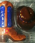 WESTERN SALT AND PEPPER SHAKERS COWBOY BOOT HAT NWT CERAMIC