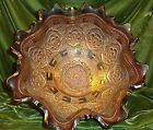 CABLE Footed Ruffled CARNIVAL GLASS FRUIT BOWL
