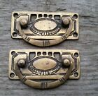 2 Arts and Crafts Antique-Style Brass Handles Pulls Hardware  3 1/8