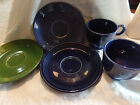 Vintage Fiesta 3 Cups & 2 Saucers Cobalt Forest Green 5 Pieces