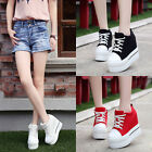 Womens High Platform Wedge Canvas Shoes Athleti Sneakers Height Increasing Shoes