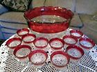 Kings Crown Ruby Flash Glass Thumbprint Punch Bowl W 12 CUPS Indiana Glass