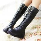 Punk Gothic Motrocycle Womens Platform Lace Up Military Knight  Knee High Boots