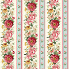 Victorian Large Rose Floral Borderstripe Charlotte Northcott By 1 2 yard