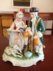 Old Woman And Man With Their Hunting Dog And Gun Vintage Replica Antique Ceramic