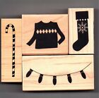 BUNDLE of 4 Christmas Wood Mtd Rubber Stamps NEW Stocking Sweater Lights Cane