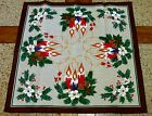 Vintage Christmas Linen Tablecloth Flaming Candles Holly Table Linen 24 x 24