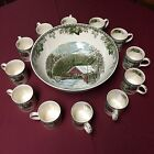 JOHNSON BROTHERS ENGLAND  THE FRIENDLY VILLAGE LARGE PUNCH BOWL  12 CUPS