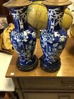 Pair beautiful chinese hand-painted blue and white porcelain Lamps