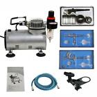 Airbrush Kit with 3 Guns Gravity Siphon Feed Air Compressor Crafts Hobby Art