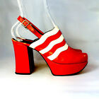 70s Vintage Platform Shoes / Red Leather Pumps / Maximo / Size 6 1/2