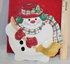 Fitz & Floyd Plaid Christmas 2000 Snowman Canape plate Mint in box x67