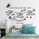 Bob Marley Quote flower butterfly Wall Decals Decor Love Life Word Large Sticker