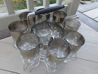 Vintage Queens Luster Silver Fade in Rack Caddy Ice Bucket Tongs 8~12 oz Glasses