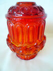 LE Smith Amberina Glass MOON  STARS Large Fairy Lamp Candle red