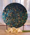 Peacock Mosaic Charger and Stand Decorative Glass Plate