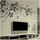 DIY Home Decor Mural Black Flower Butterfly Living Room Wall Stickers Vin