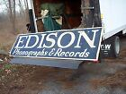 RARE EDISON PHONOGRAPH CANVAS STORE BANNER 115 X 32  A NICE AND RARE PIECE