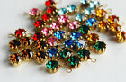 VINTAGE SWAROVSKI RHINESTONE PENDANT BEADS AGED BRASS 23ss 5mm  ASSORTED COLORS