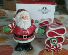 Fitz and Floyd Peppermint Santa Salt and Pepper Shakers