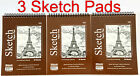 3 High Quality Spiral Premium Sketch Book Drawing Paper Pad 50 Sheets 6 x 8