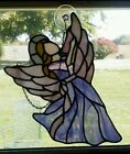 Vintage Stained Glass Angel Suncatcher (Real Glass) hand made purple white 15