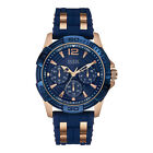 Guess Men's 44mm Blue Silicone Stainless Steel Case Mineral Glass Watch W0366G4