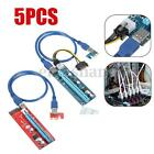 1 5x USB30 PCI E Express 1x to 16x Extender Riser Card Adapter SATA Power Cable