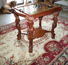 Antique Carved Wood Table with Beveled Glass Top Tray