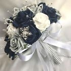 BRIDES POSY BOUQUET NAVY BLUE WHITE  GREY ROSES ARTIFICIAL WEDDING FLOWERS