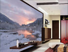 3D dusk snow lake scenery Wall Paper Print Decal Wall Deco Indoor wall Mural