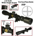 28 9x40 Wide Angle FFP First Focal Plane Reticle Scope Thread On Lens Cap Rings