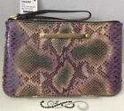 Brahmin Sally Wristlet Purse Makeup Bag Purple Snake Print Genuine Leather