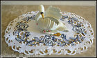DUTCH DELFT Lace Doily 17 Placemat Runner White  Blue Rose