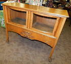 Antique Carved Tiger Oak Bow Front Glass Cabinet Server Cart Bar Credenza Buffet