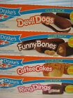 Drake' Cakes Club Pack Bundle! Devil Dogs, Funny Bones, Coffee Cakes, Ring Dings