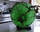 Authentic Japanese Green Blown Glass Fishing Float and Roping Large All Original
