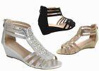 NEW Womens Sexy Bridal Open Toe Glitter Rhinestone Wedge Party Shoes Size 5 10