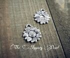 10 Sunflower Charms Sunflower Pendants Silver Flower Charms Spring Charms