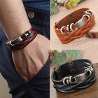 Mens Braided Genuine Leather Stainless Steel Cuff Bangle Bracelet Wristband